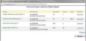 Список ключевых запросов Яндекс Директ
