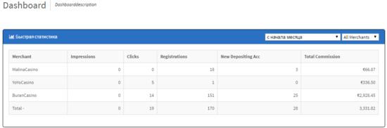 Статистика одного из вебмастеров партнерской программы