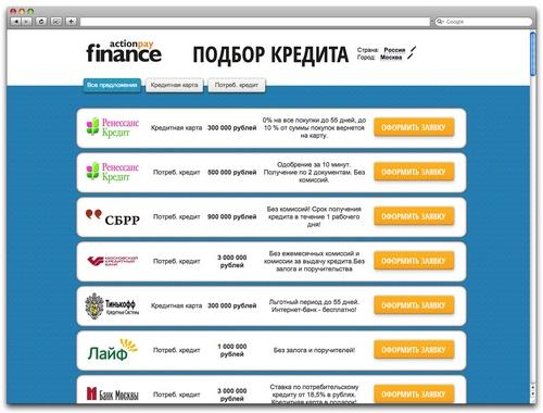 Лендинг с банковскими офферами